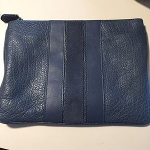 Coach Large Pouch Navy Blue Leather Unisex